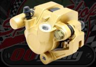 Caliper Front large 30mm piston  GOLD cast non flex bracket