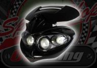 Head lamp. 4 x mini halogen. 12V. Wind deflector. Enduro. Off road