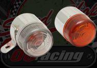 Flasher chrome Retro short bracket side bolt on amber or clear