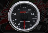 Clock. Koso. Tachometer. Rev counter. Micro. Black face. 48mm