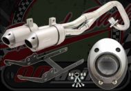 Exhaust. Complete. Twin racing F2 system. 28mm. Suitable for use with pit bike KLX compatible with Honda port