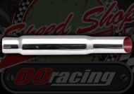 Silencer. End can. Short slash cut. 400mm overall. Steel chrome construction