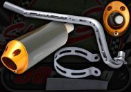 Exhaust. Complete. Oval. Fast Road Race System. CNC Alloy and Stainless steel construction. 28mm bore front pipe