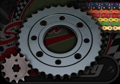 Chain & sprocket kit. 428 pitch. Suitable for ACE 50 & 125. Choice of colour and size
