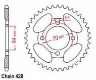 Sprocket. Rear. 420 pitch. C90 cub type. Made by JT