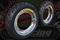 Wheel kit Steel chrome plated rims Continental TWIST Wider tyre KIT