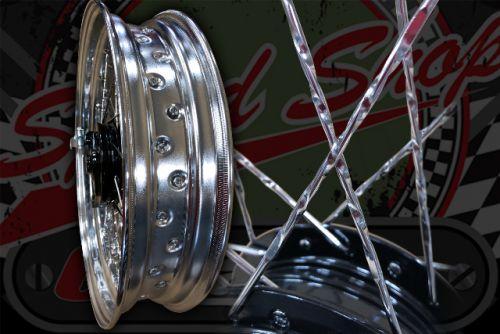 "Wheel kit SUPER wide Chrome rims Spiral spokes 17"" 3.50 rear 3.00 front"