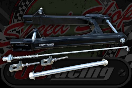 Swinging arm +12 Box section Alloy tubing in black brushed finish Kepspeed