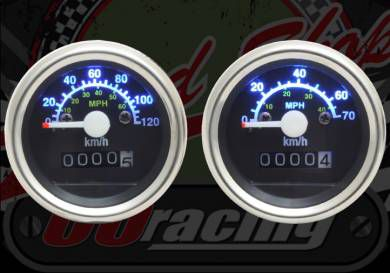 Clock. Speedo. 70Km/h or 120Km/h. Black face. Illuminated numbers. Suitable for monkey speedo housing