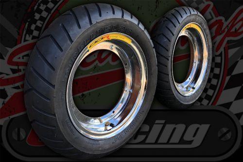 Wheel kit Steel chrome plated rims Pirelli SL26 Wider tyre KIT
