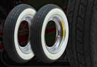 Wheel kit. STEEL CHROME rims. White wall. Shinko tyres. Suitable for DAX