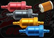 Filter. Fuel. In-line. CNC alloy. Paper filter. 6mm hose fitting. Colour choice