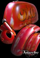 Body Kit. OXO. Suitable for Gorilla or Monkey style bikes. Retro Rust look hand Air brushed. Work by