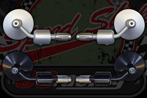 Mirror. End Bar. CNC. Silver or Black. Pair
