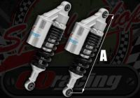 Shocks AP335mm gas piggy back for Ace 50 & 125 good damping Black/Silver
