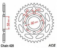 Sprocket. Rear.  428 pitch. 34T to 40T. Skyteam ACE 50 & 125