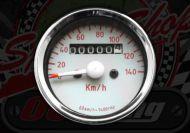 Clock. Speedo. 140Km/h. Universal. White face. Red numbers